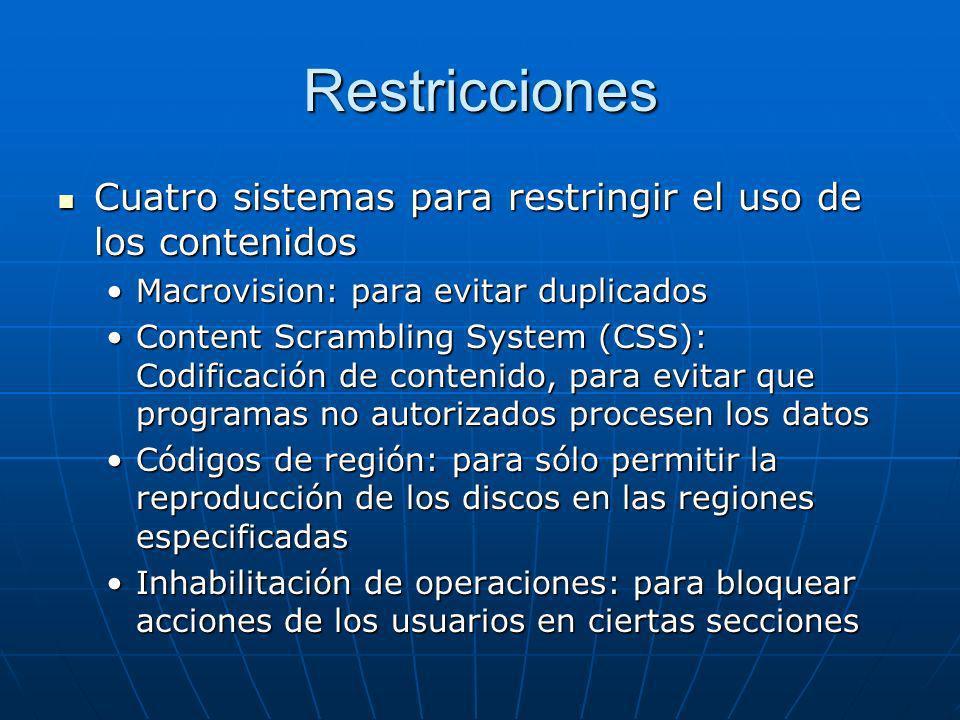 Restricciones Cuatro sistemas para restringir el uso de los contenidos Cuatro sistemas para restringir el uso de los contenidos Macrovision: para evit