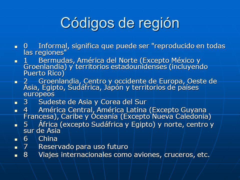 Códigos de región 0 Informal, significa que puede ser
