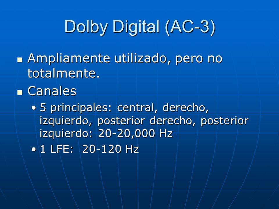 Dolby Digital (AC-3) Ampliamente utilizado, pero no totalmente. Ampliamente utilizado, pero no totalmente. Canales Canales 5 principales: central, der
