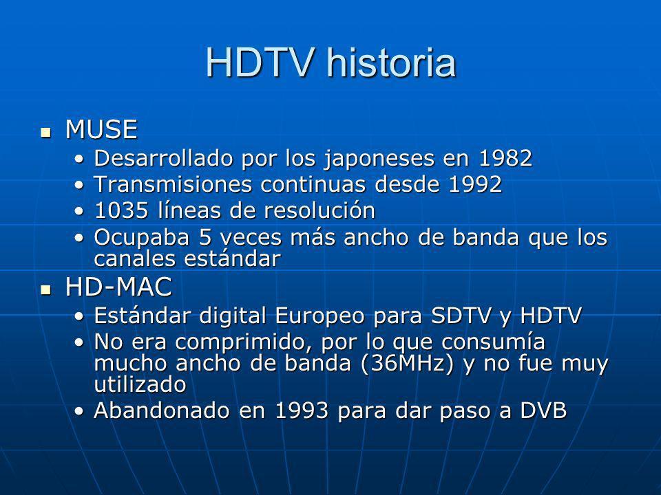 HDTV historia MUSE MUSE Desarrollado por los japoneses en 1982Desarrollado por los japoneses en 1982 Transmisiones continuas desde 1992Transmisiones c