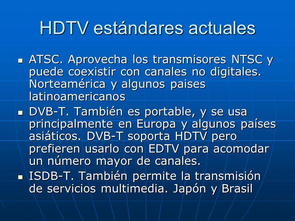 HDTV estándares actuales ATSC. Aprovecha los transmisores NTSC y puede coexistir con canales no digitales. Norteamérica y algunos paises latinoamerica