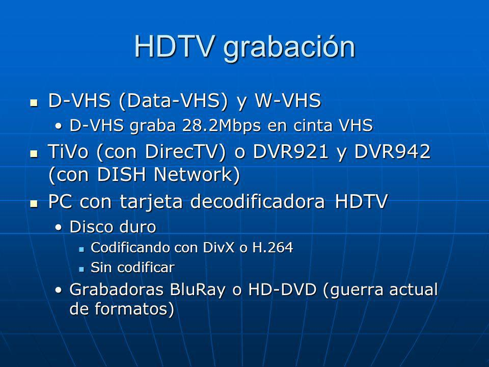 HDTV grabación D-VHS (Data-VHS) y W-VHS D-VHS (Data-VHS) y W-VHS D-VHS graba 28.2Mbps en cinta VHSD-VHS graba 28.2Mbps en cinta VHS TiVo (con DirecTV)