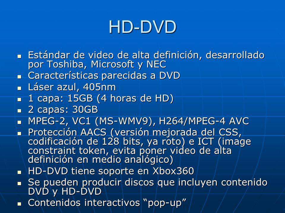 HD-DVD Estándar de video de alta definición, desarrollado por Toshiba, Microsoft y NEC Estándar de video de alta definición, desarrollado por Toshiba,