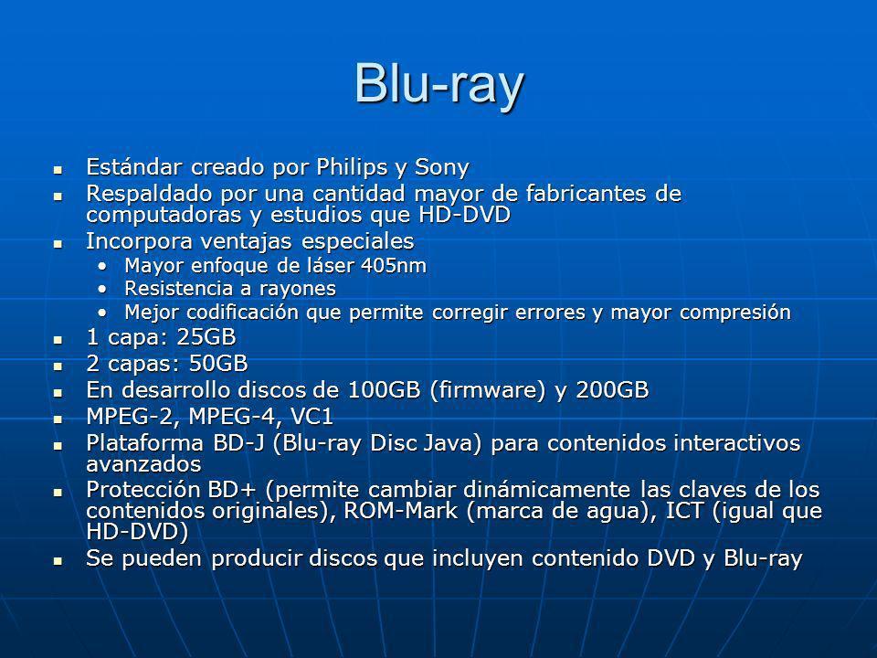 Blu-ray Estándar creado por Philips y Sony Estándar creado por Philips y Sony Respaldado por una cantidad mayor de fabricantes de computadoras y estud