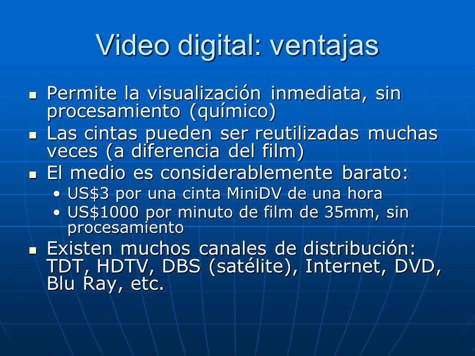 Video digital: ventajas Permite la visualización inmediata, sin procesamiento (químico) Permite la visualización inmediata, sin procesamiento (químico