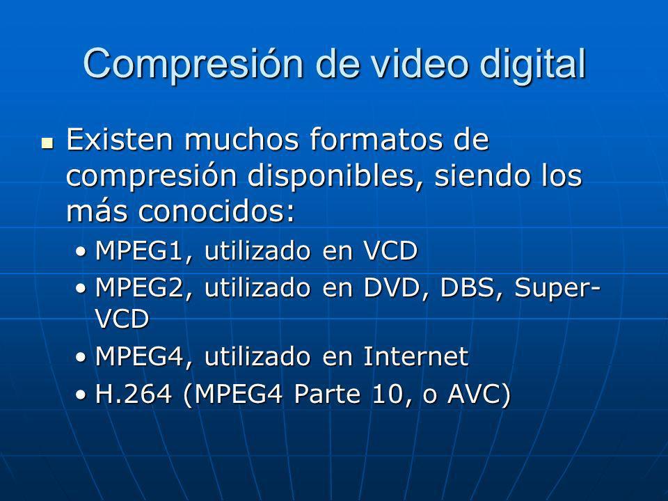 Compresión de video digital Existen muchos formatos de compresión disponibles, siendo los más conocidos: Existen muchos formatos de compresión disponi