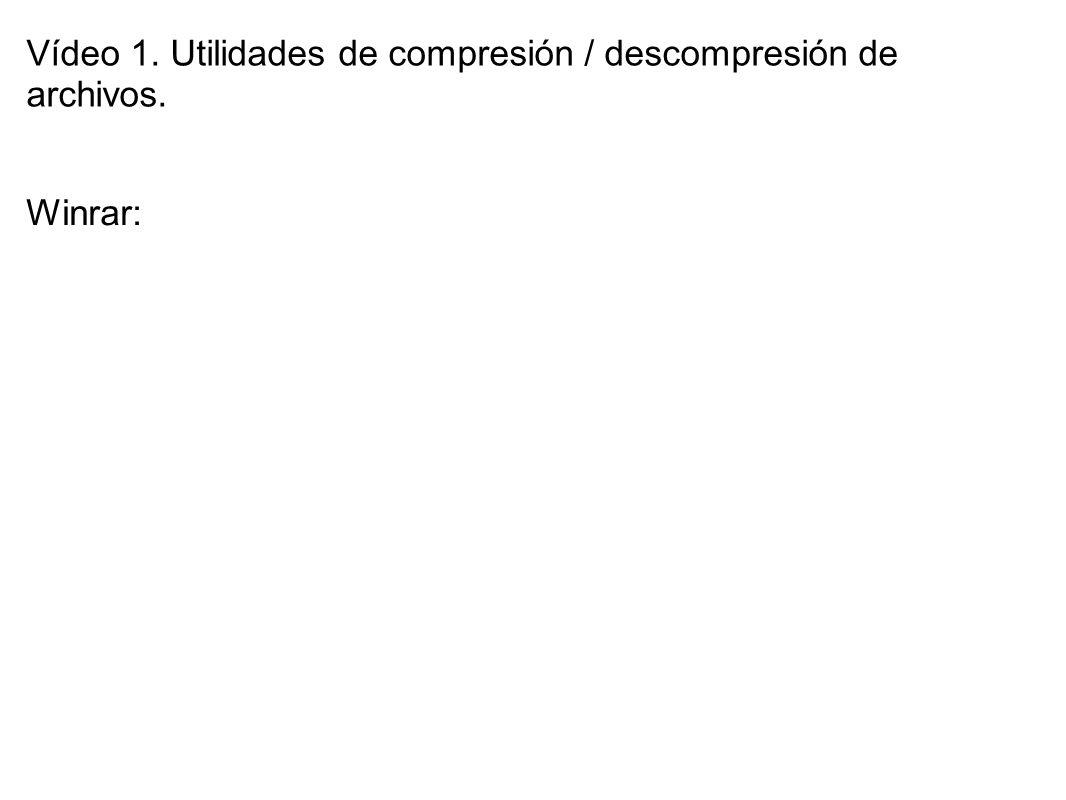 Vídeo 1. Utilidades de compresión / descompresión de archivos. Winrar: