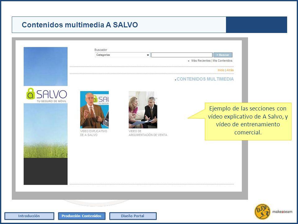 Elaboración de un vídeo explicativo del producto A Salvo IntroducciónProducción ContenidosDiseño Portal Contenidos multimedia A SALVO Ejemplo de las s