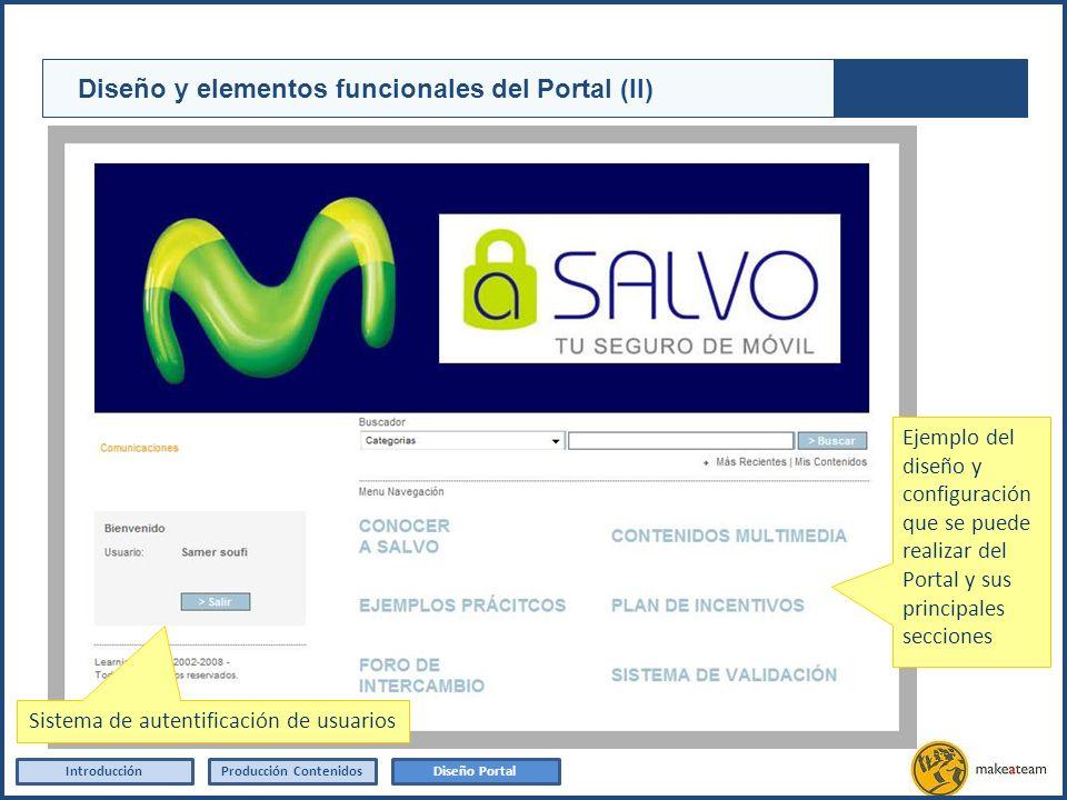 Sistema de autentificación de usuarios IntroducciónProducción Contenidos Diseño y elementos funcionales del Portal (II) Diseño Portal Ejemplo del dise