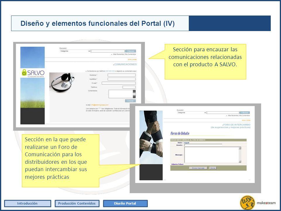 Sección para encauzar las comunicaciones relacionadas con el producto A SALVO. IntroducciónProducción Contenidos Diseño y elementos funcionales del Po