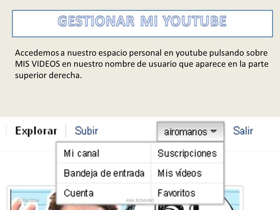 Accedemos a nuestro espacio personal en youtube pulsando sobre MIS VIDEOS en nuestro nombre de usuario que aparece en la parte superior derecha.