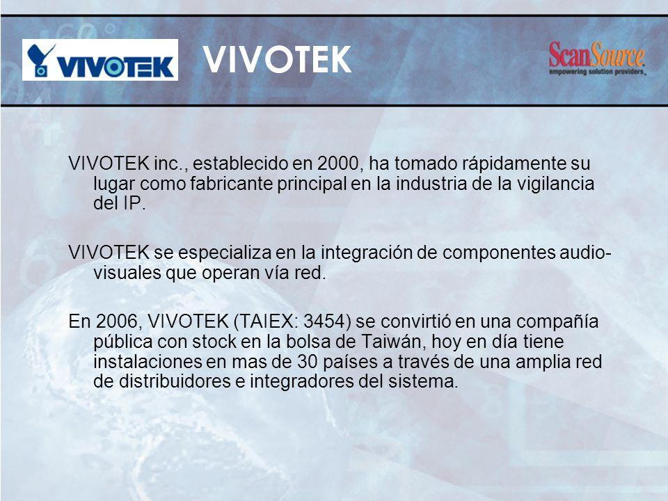 VIVOTEK inc., establecido en 2000, ha tomado rápidamente su lugar como fabricante principal en la industria de la vigilancia del IP. VIVOTEK se especi