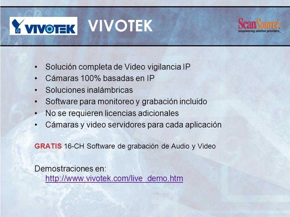 Solución completa de Video vigilancia IP Cámaras 100% basadas en IP Soluciones inalámbricas Software para monitoreo y grabación incluido No se requier
