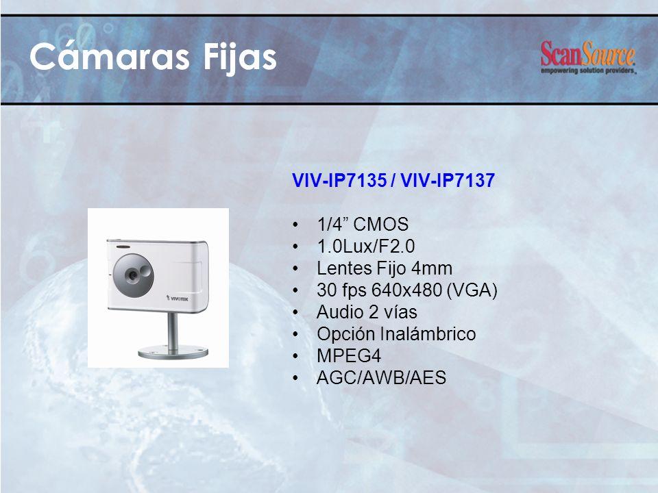 Cámaras Fijas VIV-IP7135 / VIV-IP7137 1/4 CMOS 1.0Lux/F2.0 Lentes Fijo 4mm 30 fps 640x480 (VGA) Audio 2 vías Opción Inalámbrico MPEG4 AGC/AWB/AES