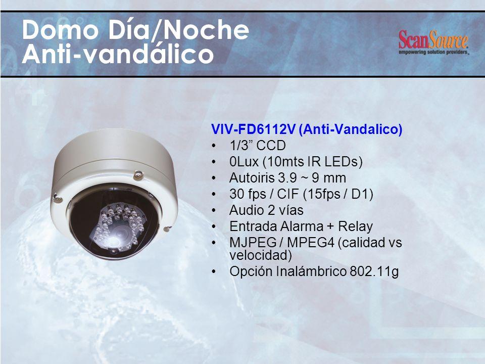 Domo Día/Noche Anti-vandálico VIV-FD6112V (Anti-Vandalico) 1/3 CCD 0Lux (10mts IR LEDs) Autoiris 3.9 ~ 9 mm 30 fps / CIF (15fps / D1) Audio 2 vías Ent