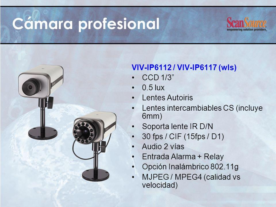 Cámara profesional VIV-IP6112 / VIV-IP6117 (wls) CCD 1/3 0.5 lux Lentes Autoiris Lentes intercambiables CS (incluye 6mm) Soporta lente IR D/N 30 fps /