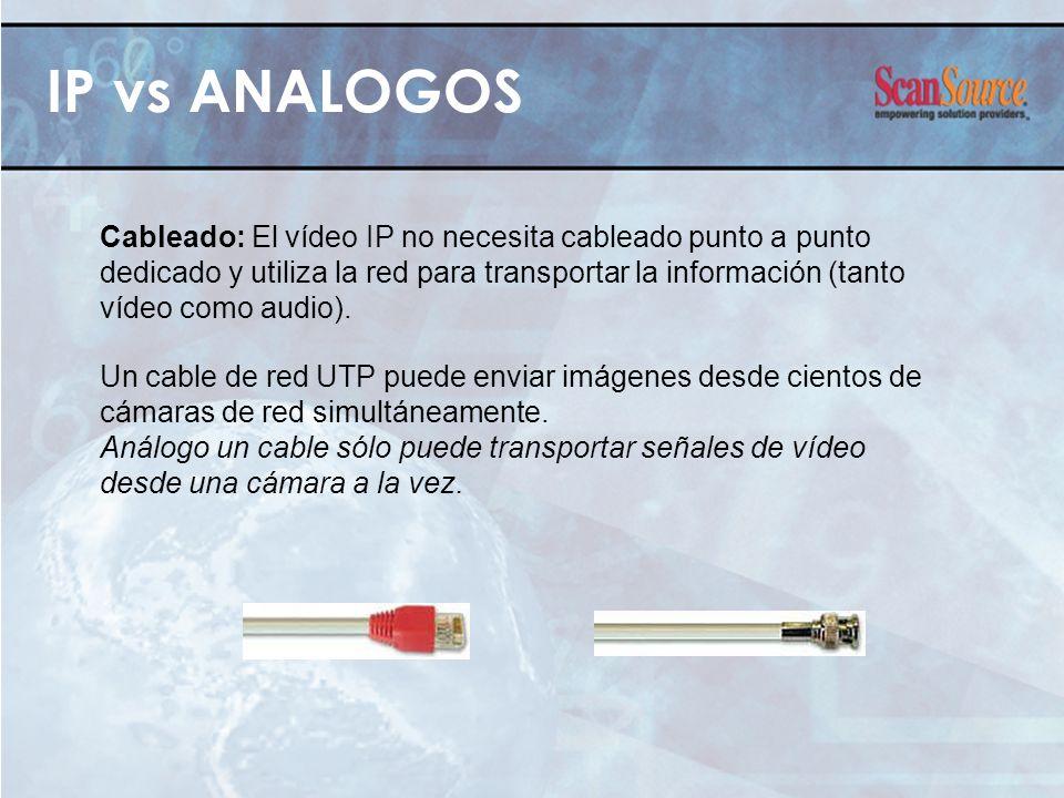 IP vs ANALOGOS Cableado: El vídeo IP no necesita cableado punto a punto dedicado y utiliza la red para transportar la información (tanto vídeo como au
