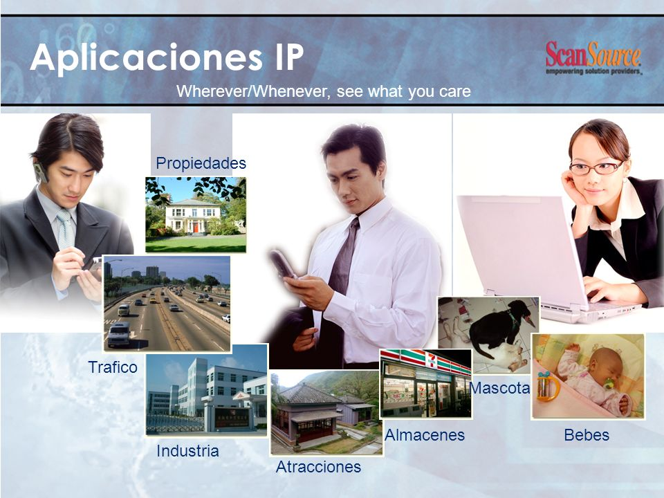 Aplicaciones IP Wherever/Whenever, see what you care Trafico Atracciones AlmacenesBebes Industria Propiedades Mascota