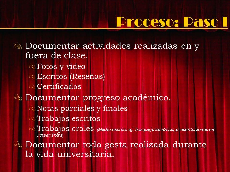 Proceso: Paso I Documentar actividades realizadas en y fuera de clase. Fotos y vídeo Escritos (Reseñas) Certificados Documentar progreso académico. No