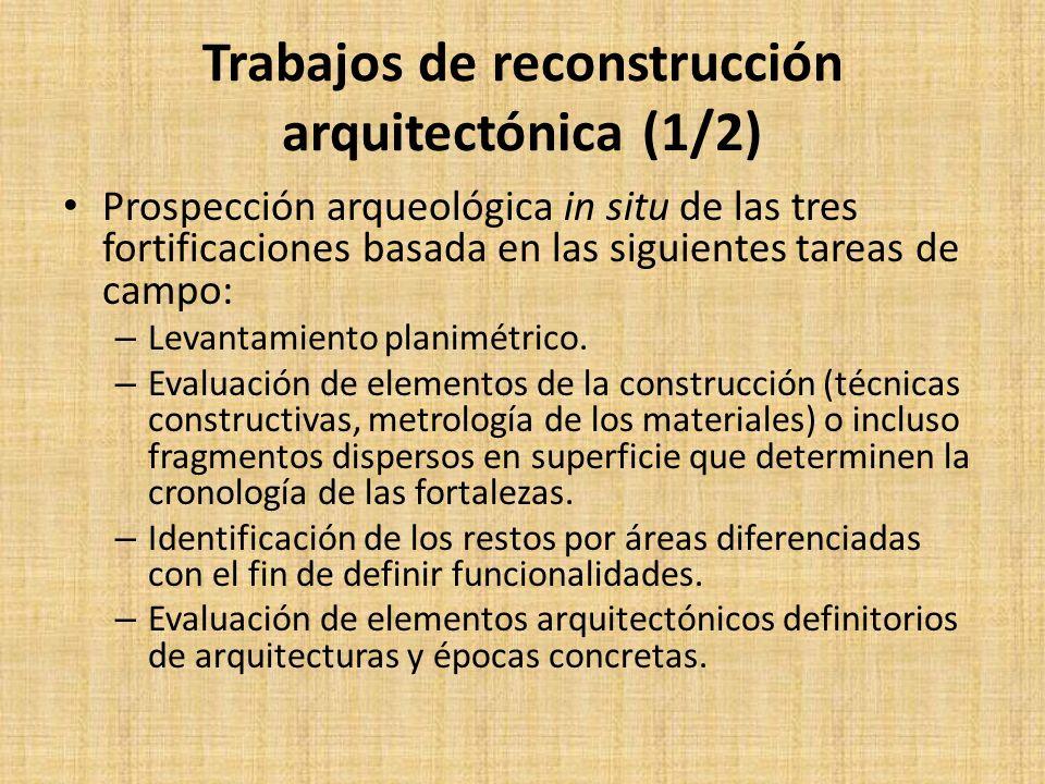 Trabajos de reconstrucción arquitectónica (1/2) Prospección arqueológica in situ de las tres fortificaciones basada en las siguientes tareas de campo: – Levantamiento planimétrico.