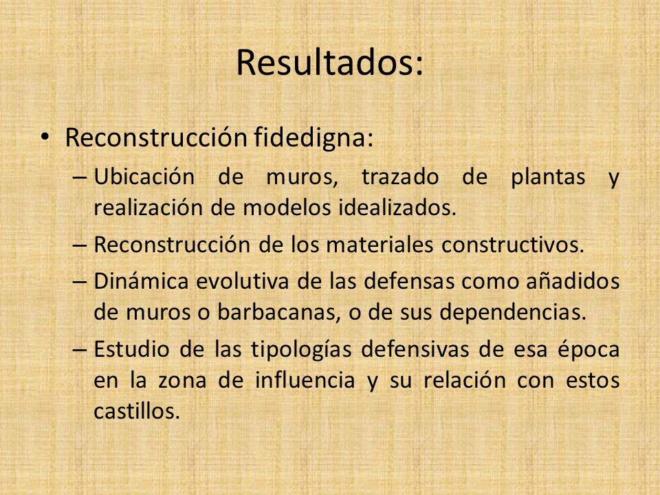 Resultados: Reconstrucción fidedigna: – Ubicación de muros, trazado de plantas y realización de modelos idealizados.