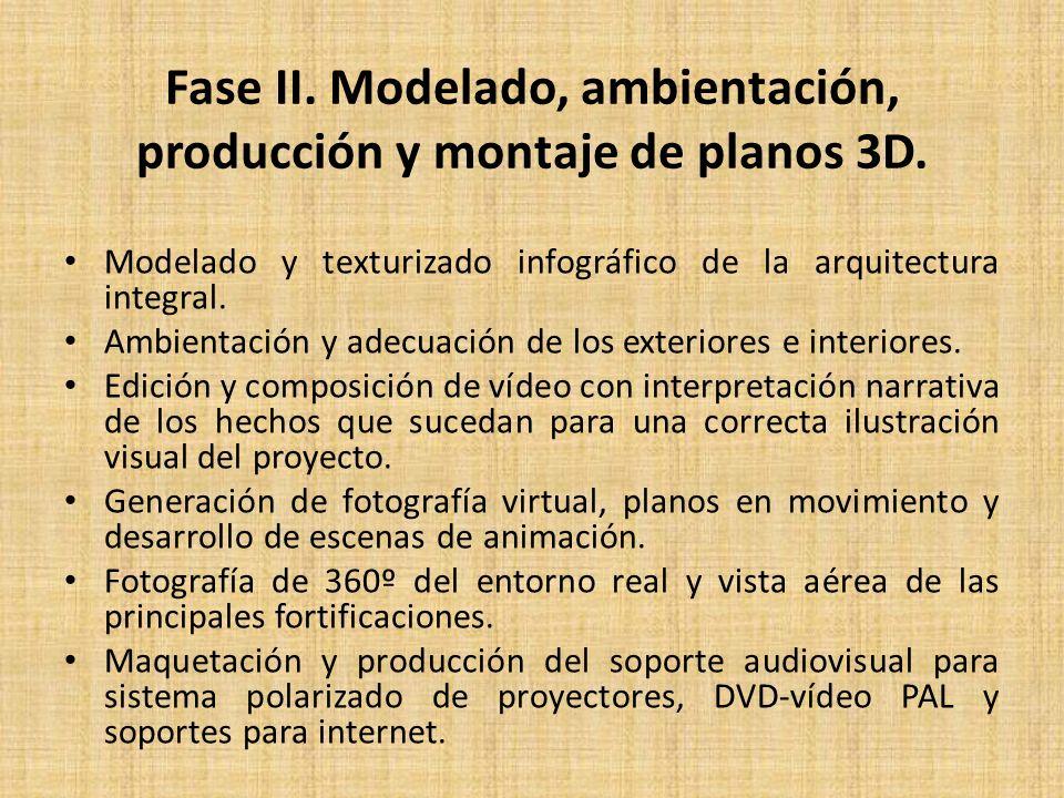 Fase II. Modelado, ambientación, producción y montaje de planos 3D.