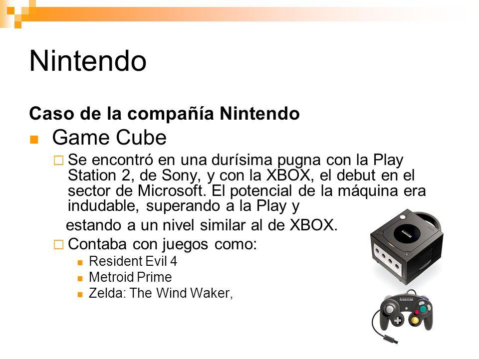 Nintendo Caso de la compañía Nintendo Game Cube Se encontró en una durísima pugna con la Play Station 2, de Sony, y con la XBOX, el debut en el sector de Microsoft.
