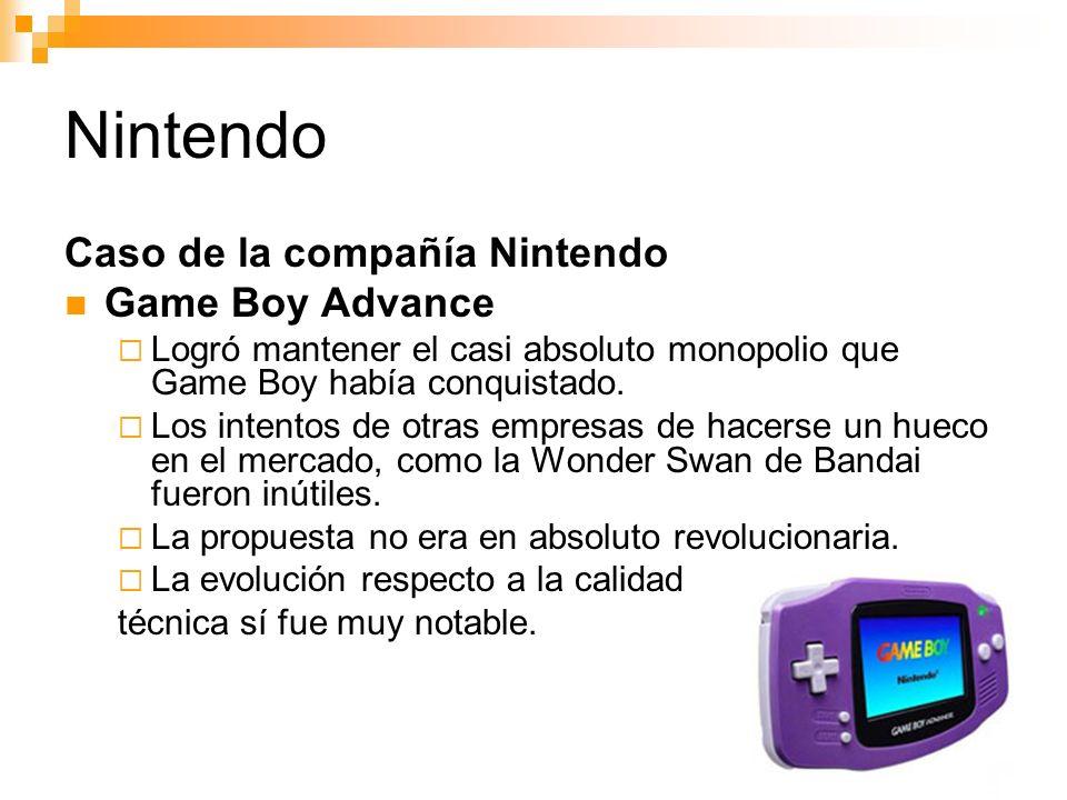 Nintendo Caso de la compañía Nintendo Game Boy Advance Logró mantener el casi absoluto monopolio que Game Boy había conquistado.