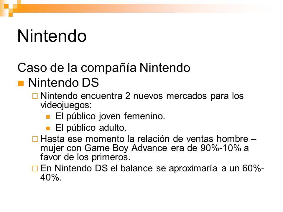 Nintendo Caso de la compañía Nintendo Nintendo DS Nintendo encuentra 2 nuevos mercados para los videojuegos: El público joven femenino.