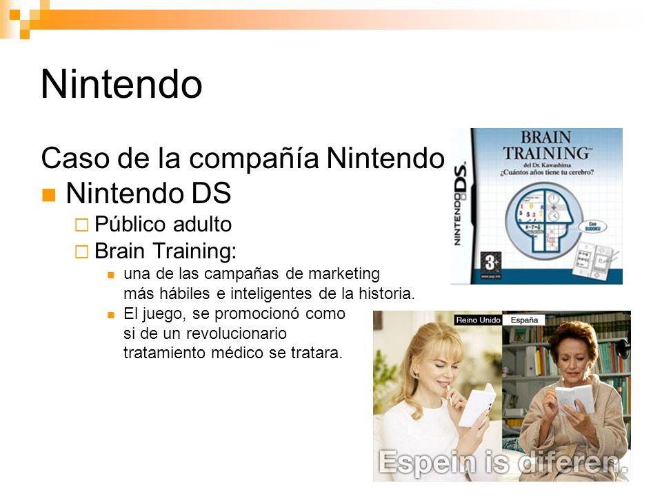 Nintendo Caso de la compañía Nintendo Nintendo DS Público adulto Brain Training: una de las campañas de marketing más hábiles e inteligentes de la historia.