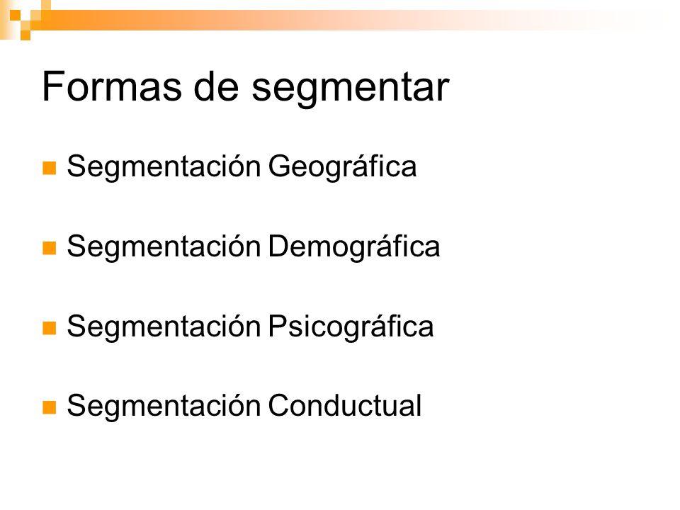 Formas de segmentar Segmentación Geográfica Segmentación Demográfica Segmentación Psicográfica Segmentación Conductual