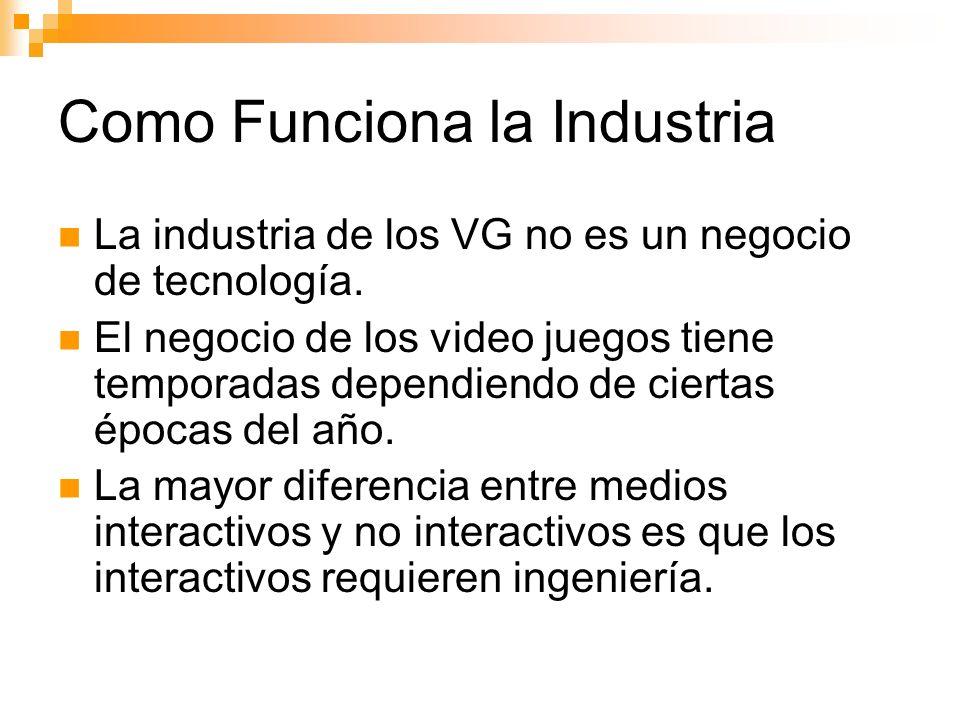 Como Funciona la Industria La industria de los VG no es un negocio de tecnología.