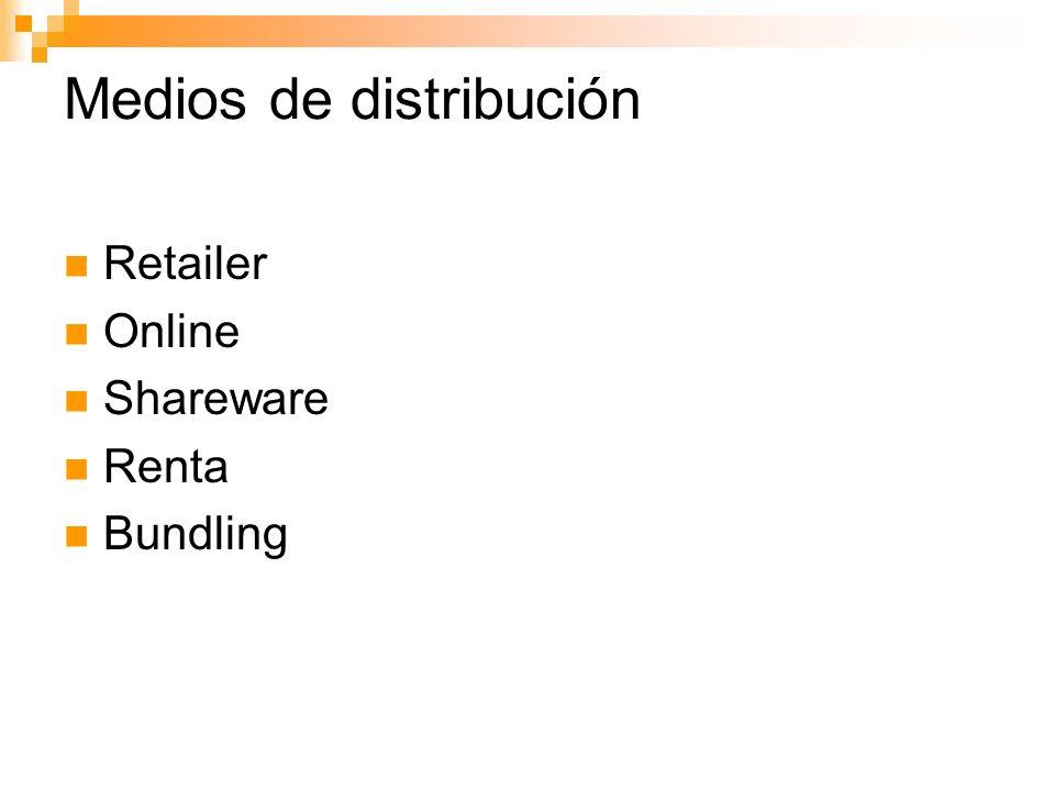 Medios de distribución Retailer Online Shareware Renta Bundling