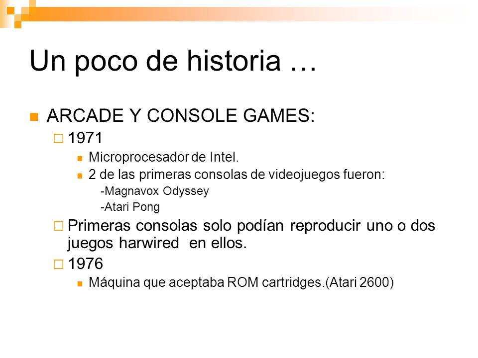 Un poco de historia … ARCADE Y CONSOLE GAMES: 1971 Microprocesador de Intel.