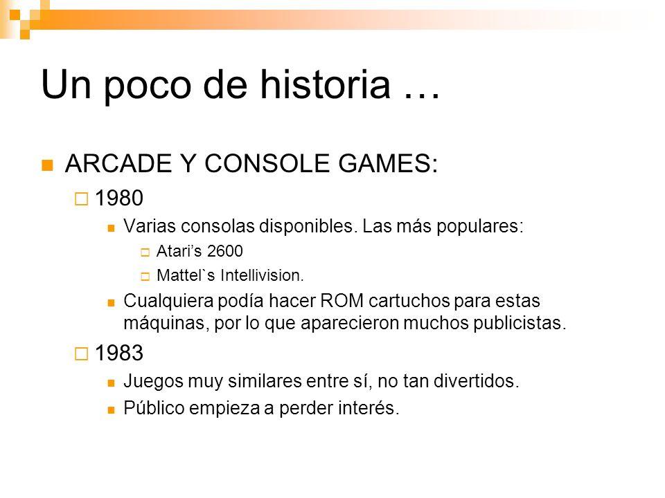 Un poco de historia … ARCADE Y CONSOLE GAMES: 1980 Varias consolas disponibles.