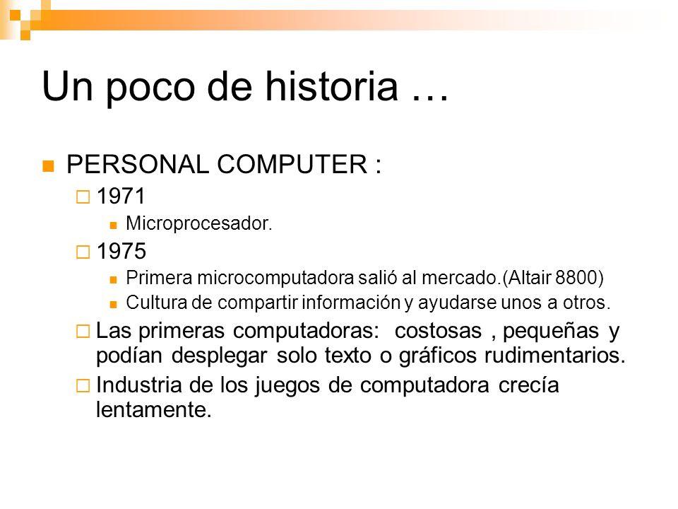 Un poco de historia … PERSONAL COMPUTER : 1971 Microprocesador.