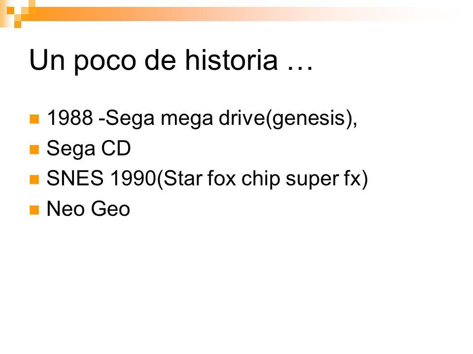 Un poco de historia … 1988 -Sega mega drive(genesis), Sega CD SNES 1990(Star fox chip super fx) Neo Geo