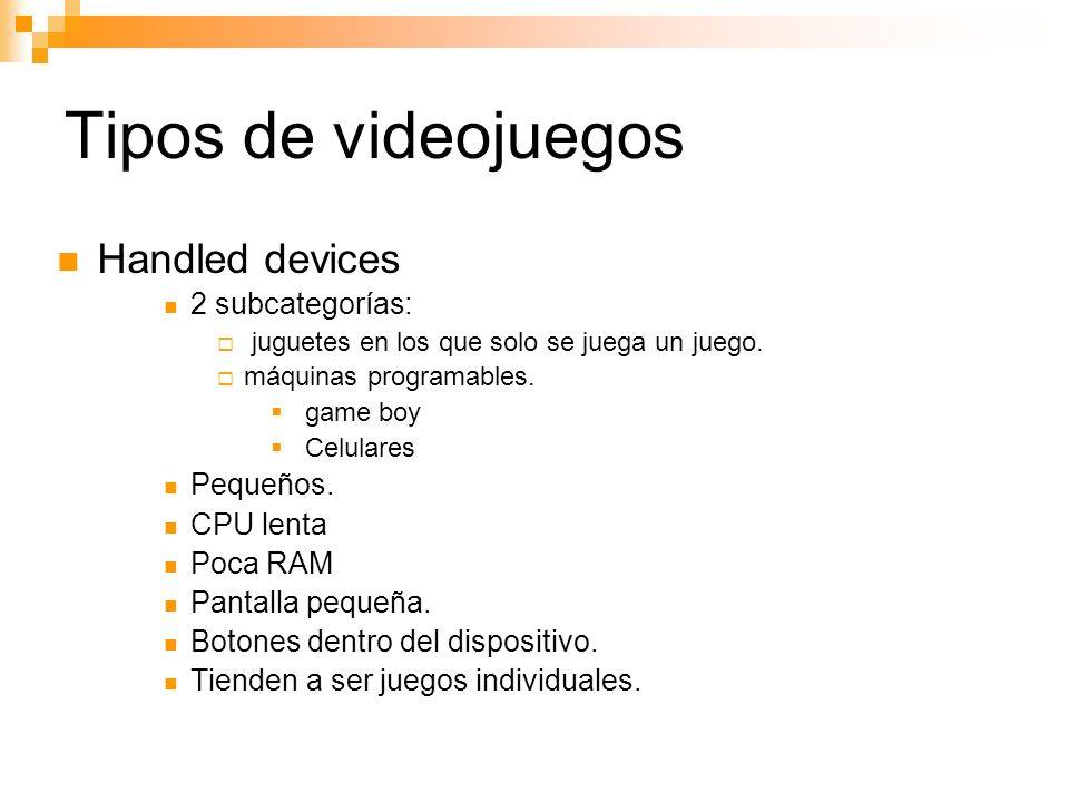 Tipos de videojuegos Handled devices 2 subcategorías: juguetes en los que solo se juega un juego.