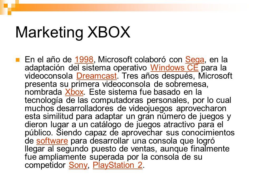 Marketing XBOX En el año de 1998, Microsoft colaboró con Sega, en la adaptación del sistema operativo Windows CE para la videoconsola Dreamcast.