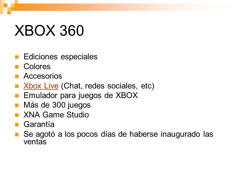 XBOX 360 Ediciones especiales Colores Accesorios Xbox Live (Chat, redes sociales, etc) Xbox Live Emulador para juegos de XBOX Más de 300 juegos XNA Game Studio Garantía Se agotó a los pocos días de haberse inaugurado las ventas