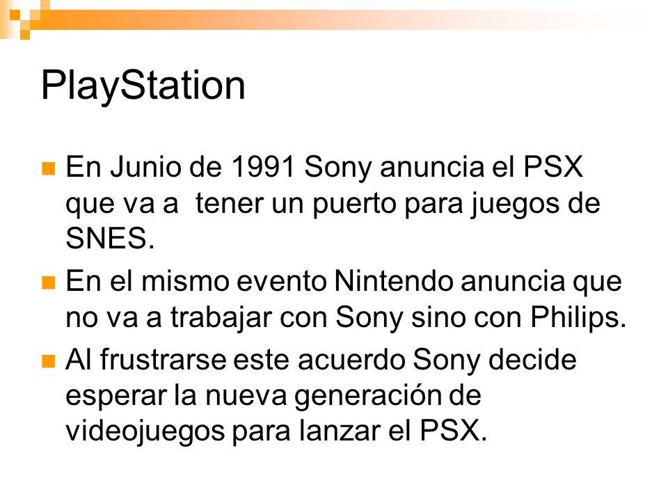 PlayStation En Junio de 1991 Sony anuncia el PSX que va a tener un puerto para juegos de SNES.