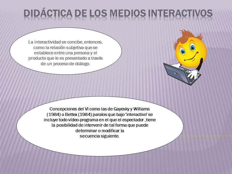 La interactividad se concibe, entonces, como la relación subjetiva que se establece entre una persona y el producto que le es presentado a través de un proceso de diálogo.