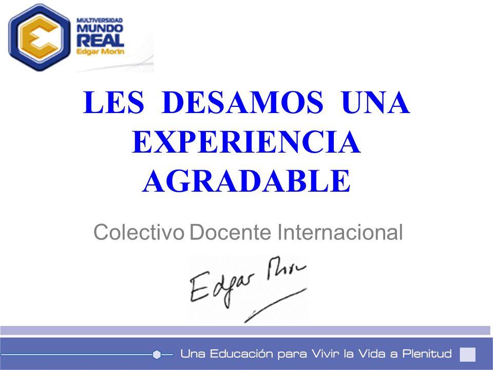 LES DESAMOS UNA EXPERIENCIA AGRADABLE Colectivo Docente Internacional