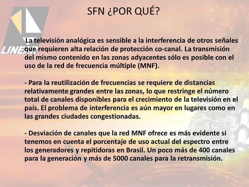 - La televisión analógica es sensible a la interferencia de otros señales que requieren alta relación de protección co-canal.
