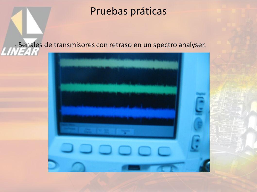 - Senales de transmisores con retraso en un spectro analyser. Pruebas práticas