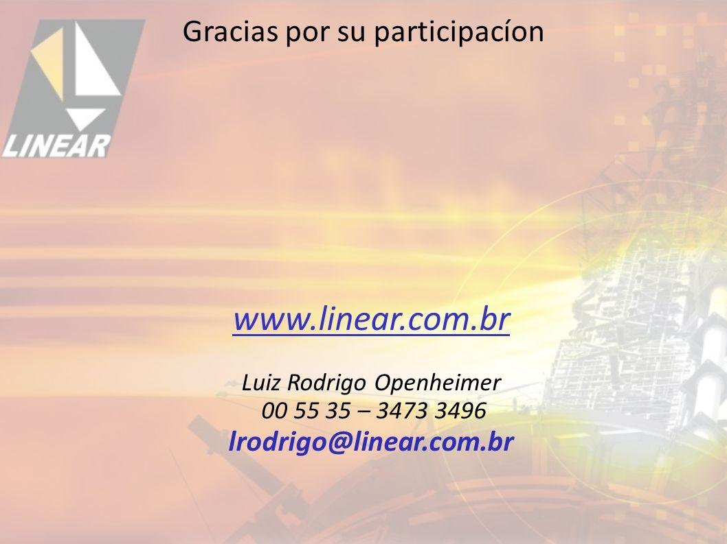 Gracias por su participacíon www.linear.com.br Luiz Rodrigo Openheimer 00 55 35 – 3473 3496 lrodrigo@linear.com.br