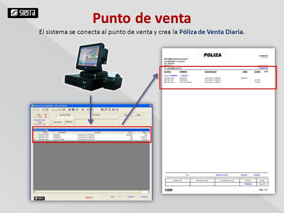 El sistema se conecta al punto de venta y crea la Póliza de Venta Diaria.