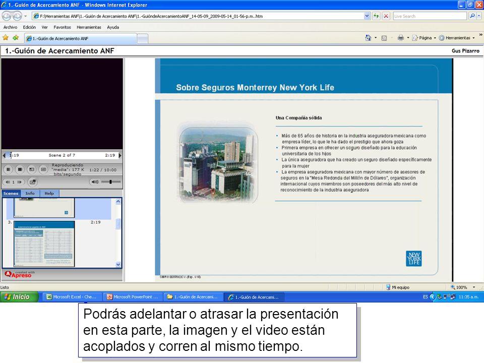 15 Podrás adelantar o atrasar la presentación en esta parte, la imagen y el video están acoplados y corren al mismo tiempo.
