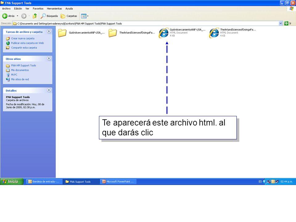 6 Te aparecerá este archivo html. al que darás clic