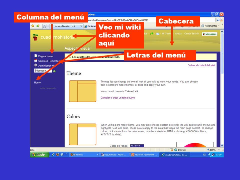 Cabecera Columna del menú Letras del menú Veo mi wiki clicando aquí